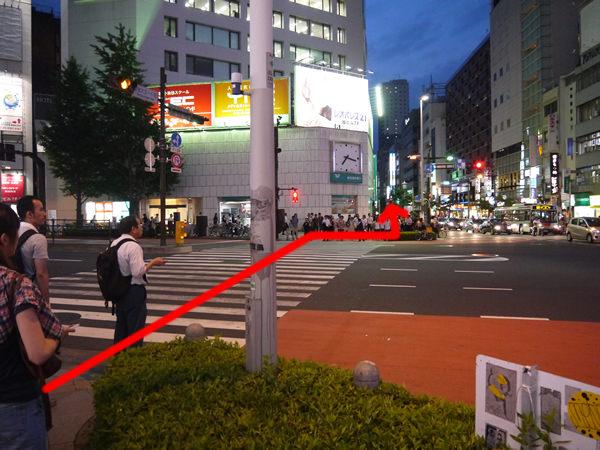 横断歩道を渡るルート