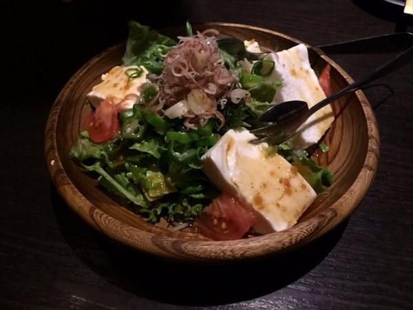 青さのりと豆富のサラダ