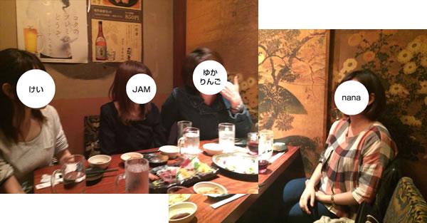 二次会のテーブル全体の様子