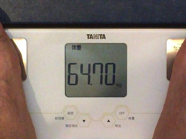 2014年7月第3週の体重64.7キロ