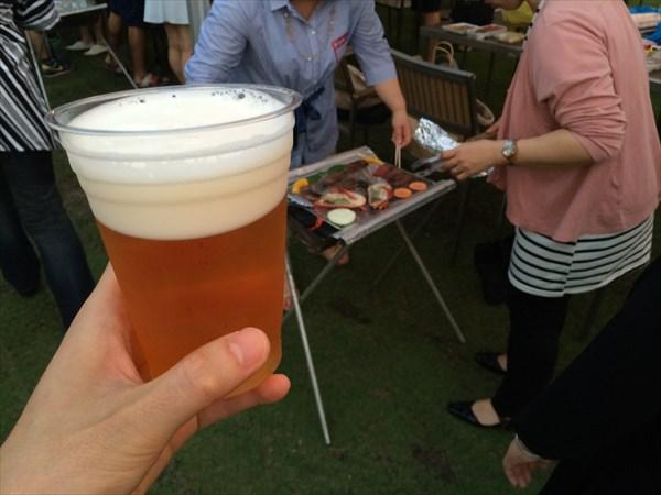 管理人、ビールで乾杯!