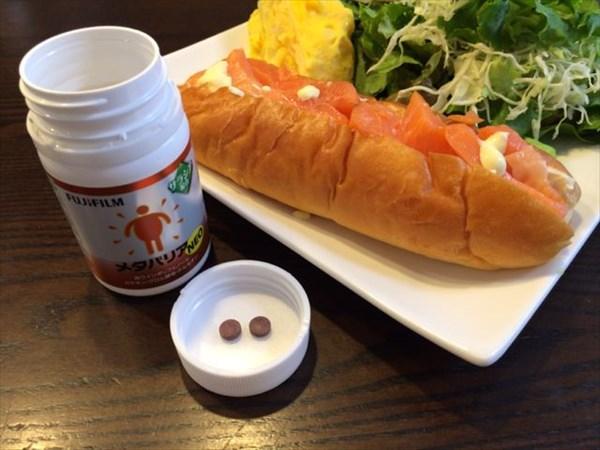 朝食の生ハムサンド