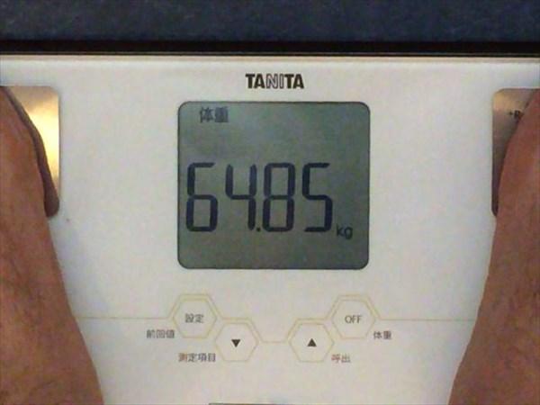 8/4(月)の朝の体重64.85キロ