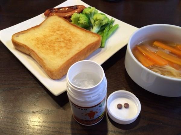 8月2週目の朝食にメタバリア2粒