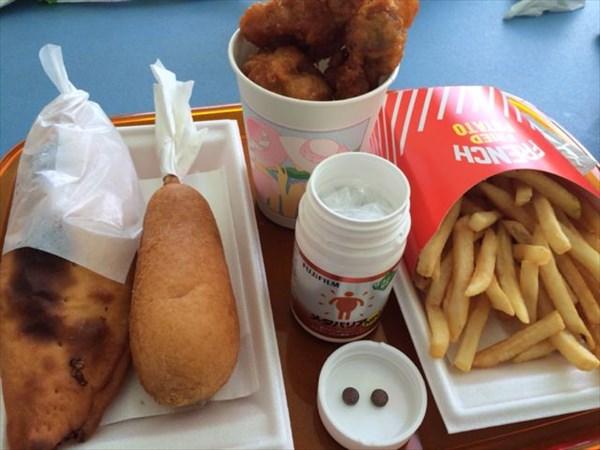 ホットスナック系の昼食とメタバリア2粒