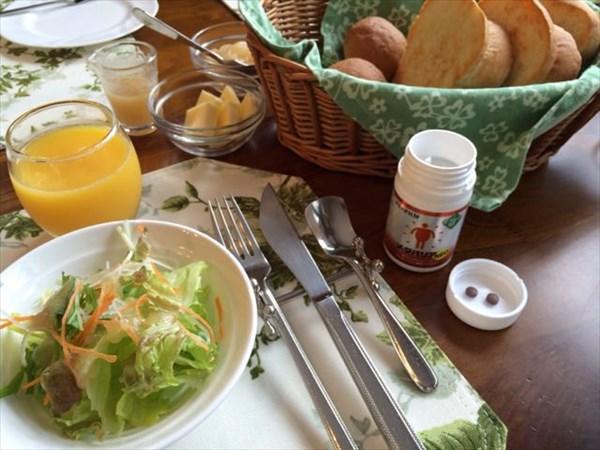 ペパーミントの朝食とメタバリア2粒