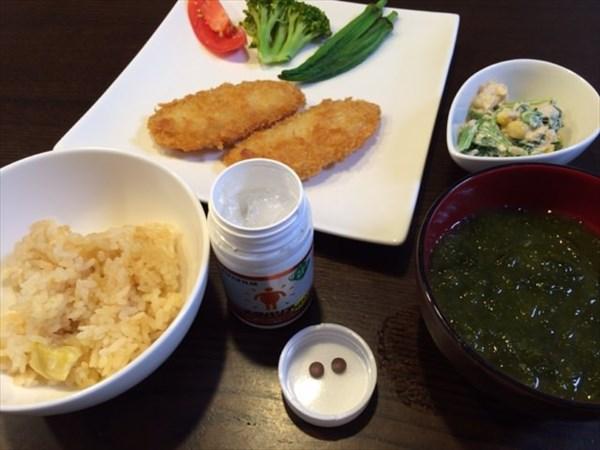 魚のフライと栗ご飯とメタバリア2粒