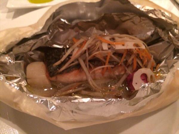 秋鮭と帆立貝のカルトッチョ