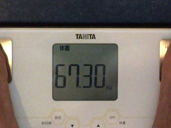 2014年10月第2週目の体重67.3kg