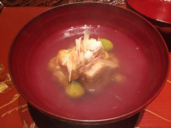 白子の天ぷらと海老芋のお椀物