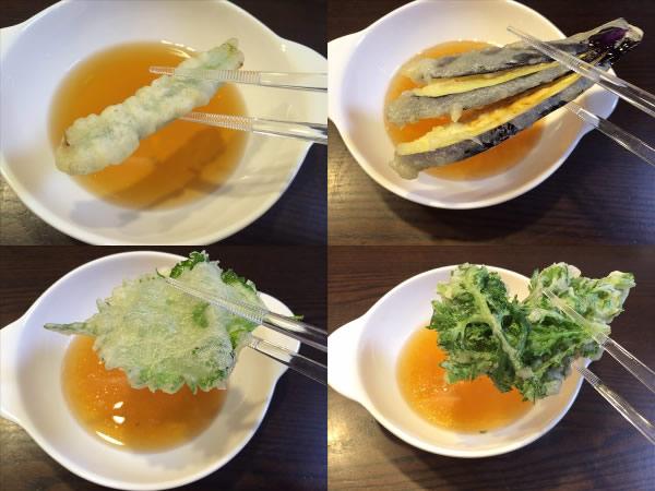 前半の天ぷら(野菜系)
