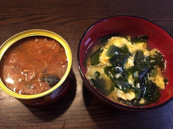 さんまの缶詰とたまごスープ