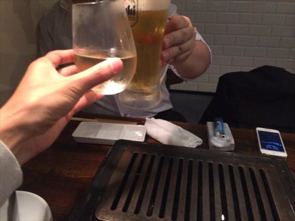 焼肉前の乾杯