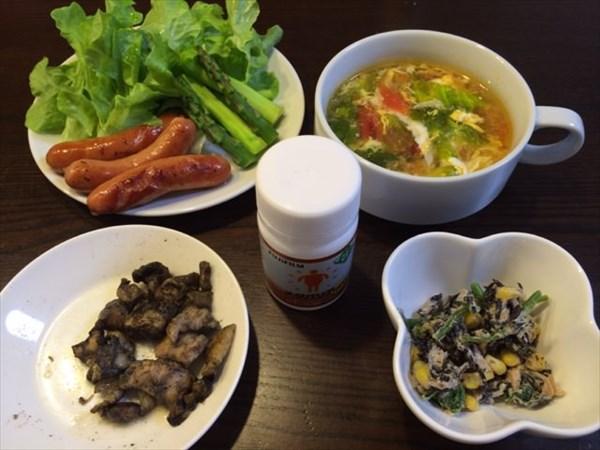 鶏炭火焼と野菜スープとソーセージとメタバリア