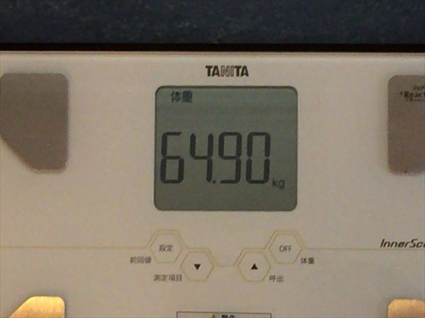 2014年11月第2週目の体重64.9kg
