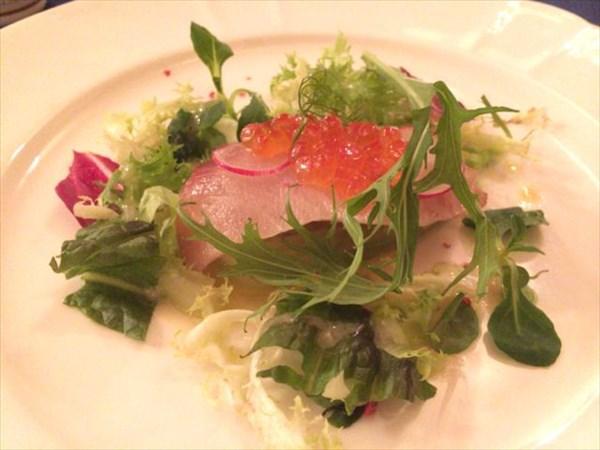 白菜のテリーヌと寒ブリのマリネのサラダ