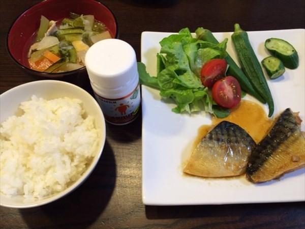 朝食のサバ味噌とご飯と味噌汁