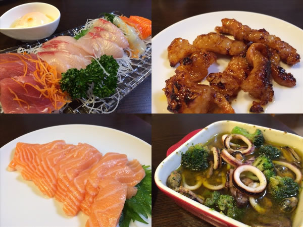 刺身とホルモン焼きと海鮮アヒージョ