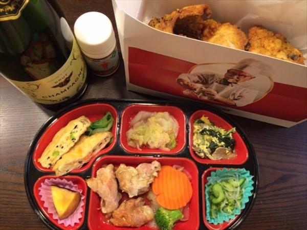12/24の生協宅配弁当とケンタッキーフライドチキンとシャンパン