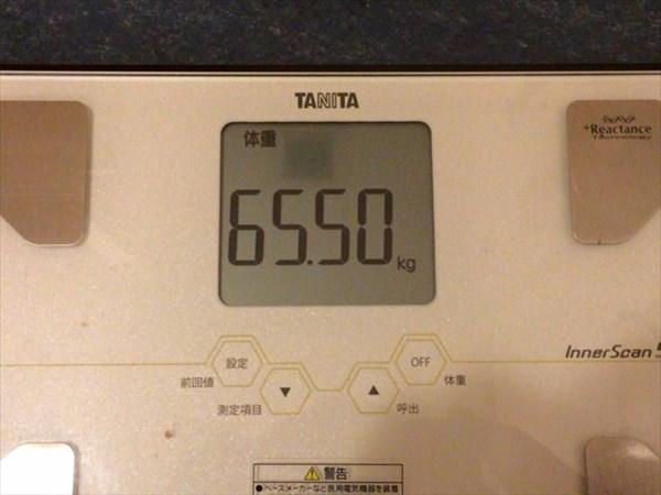 2014年12月第4週目の体重65.5kg