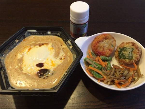 麻婆豆腐と豆腐ハンバーグ等とメタバリア