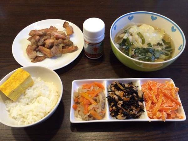 ご飯と鶏肉の塩こしょう焼きとワンタンスープ