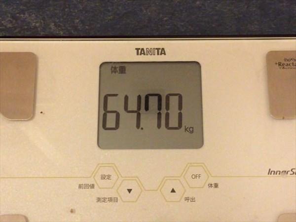 2015年1月第5週の体重64.7kg