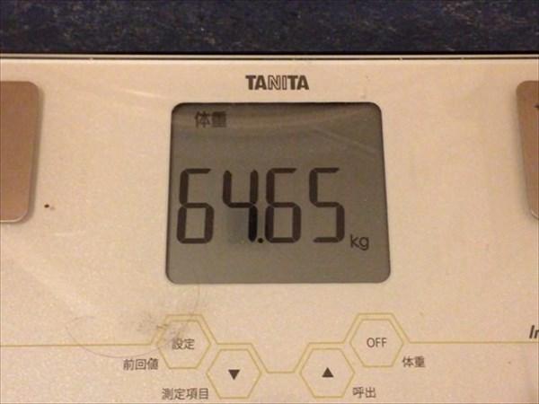 2015年2月第1週の体重64.65kg