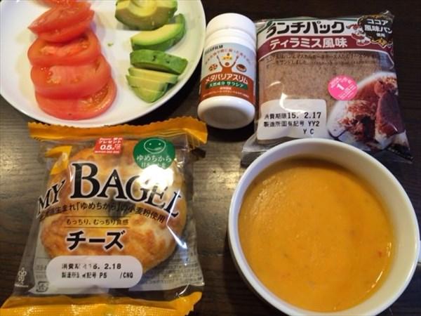 ランチパックティラミス風味とスープとメタバリアスリム