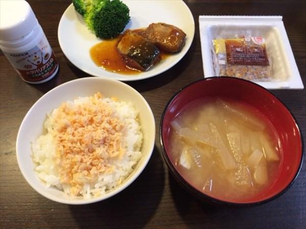 鮭ご飯と魚と納豆とメタバリアスリム