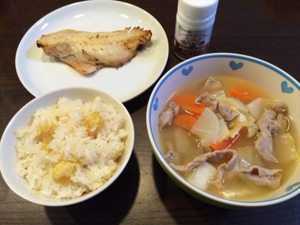 栗ご飯と豚汁と魚とメタバリアスリム