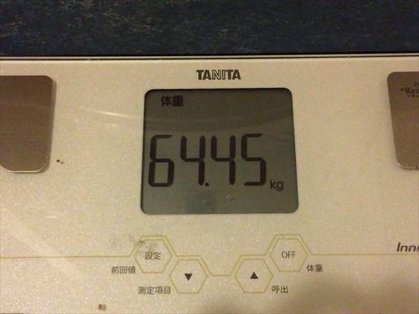 2015年2月第4週の体重64.45kg