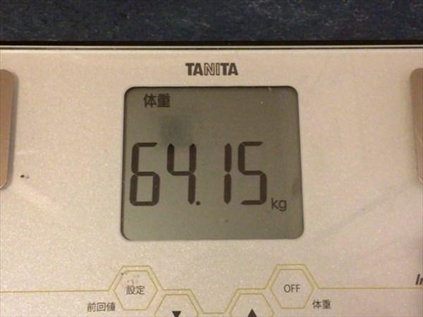 2015年3月第1週の体重64.15kg