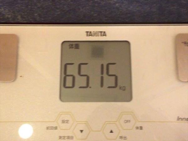 2015年3月第2週の体重65.15kg
