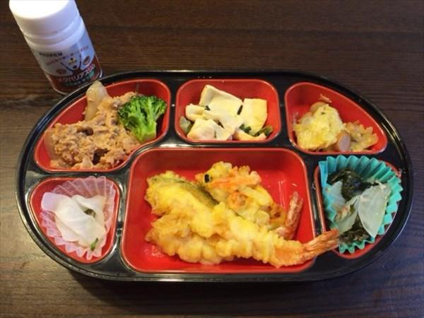 天ぷら中心の生協弁当とメタバリアスリム