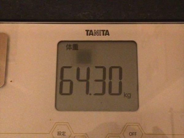 2015年4月第1週の体重64.3kg