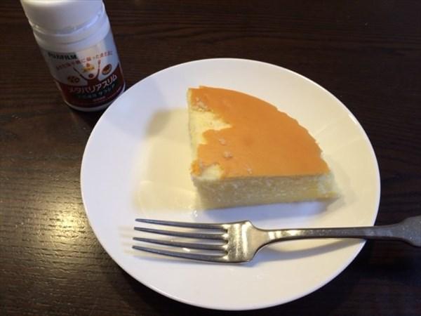 朝食のチーズケーキとメタバリアスリム