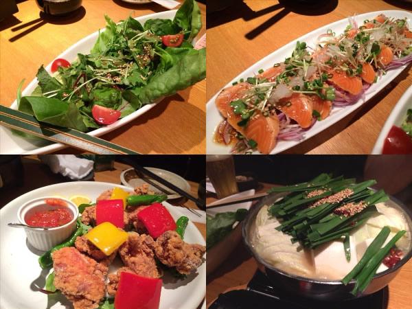 サラダや前菜ともつ鍋