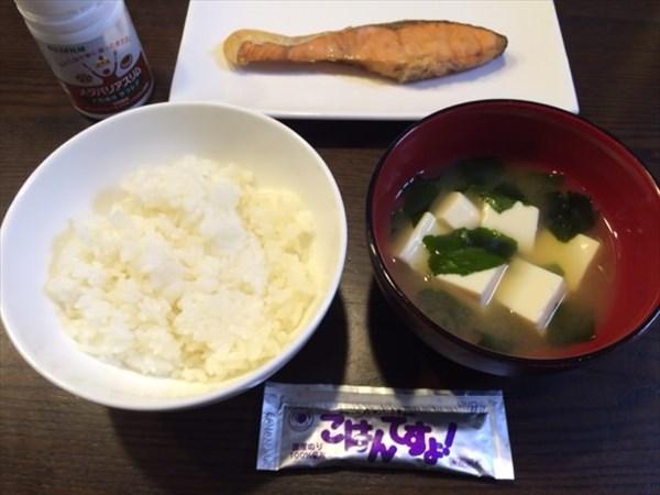 白ごはんと味噌汁と鮭とごはんですよ