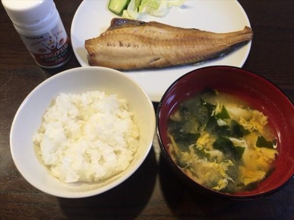 焼き魚とご飯と味噌汁とメタバリアスリム
