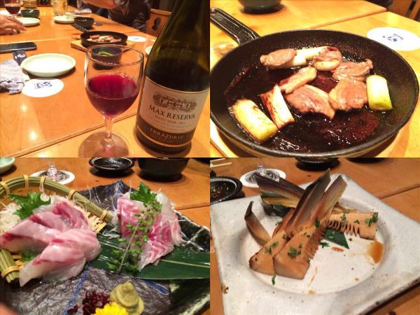 赤ワインボトルと鴨肉とイサキの刺身とたけのこ