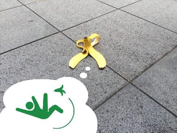 バナナの皮で転ぶイメージ