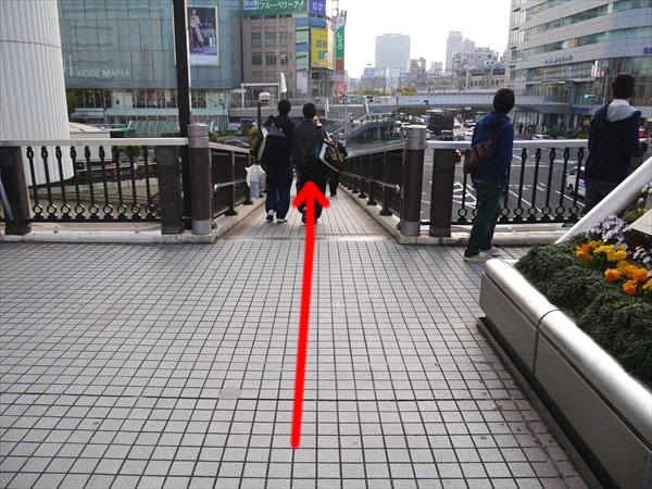 歩道橋を下るように進む