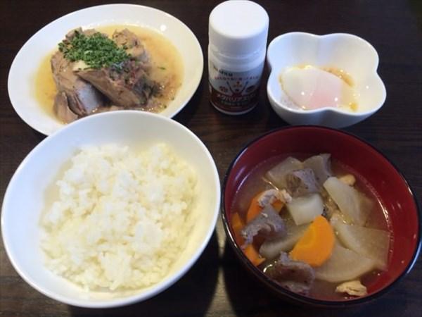 ご飯と豚汁とサバの缶詰と温泉卵とメタバリアスリム
