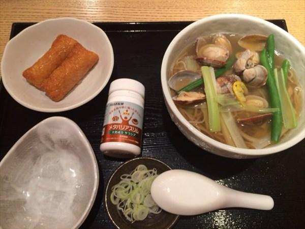 あさり蕎麦といなり寿司とメタバリアスリム