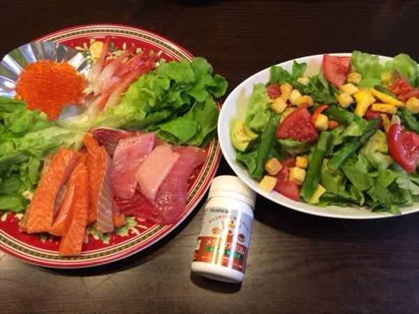 手巻き寿司用のネタとサラダとメタバリアスリム