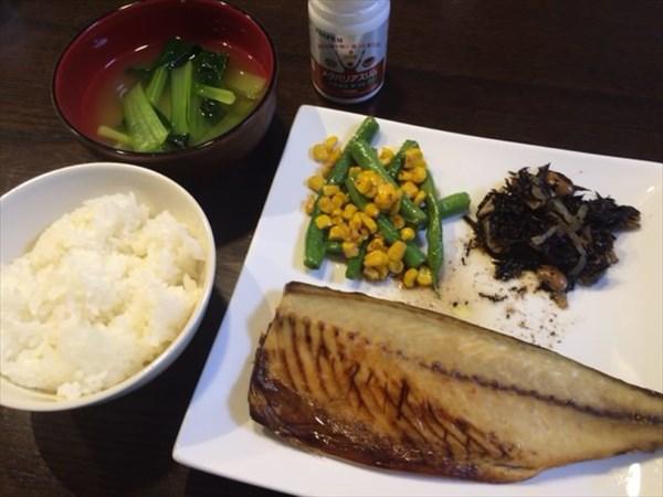 焼きサバとご飯と味噌汁とメタバリアスリム