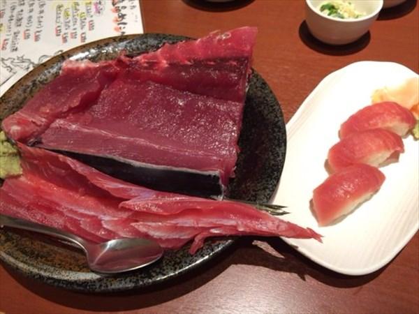 中落ちと寿司のサイズ比較
