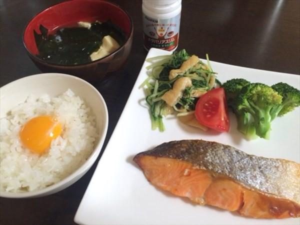 焼き鮭とたまごかけご飯とメタバリアスリム
