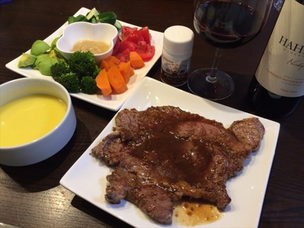 アンガスビーフのステーキとバーニャカウダとメタバリアスリム